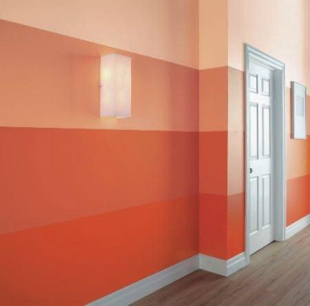 Diferença entre a pintura degradê e ombré. Faixas na cor laranja em varias tonalidades.