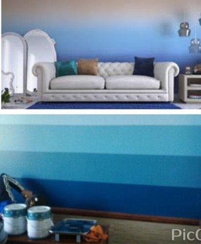 Parede com pintura ombré na foto superior a na foto de baixo parede com pintura degradê, listras bem marcadas.
