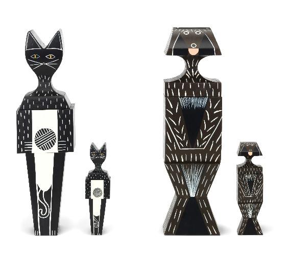 Wooden Dolls Cats & Dogs da VITRA assinados por Alexander Girard em 1952
