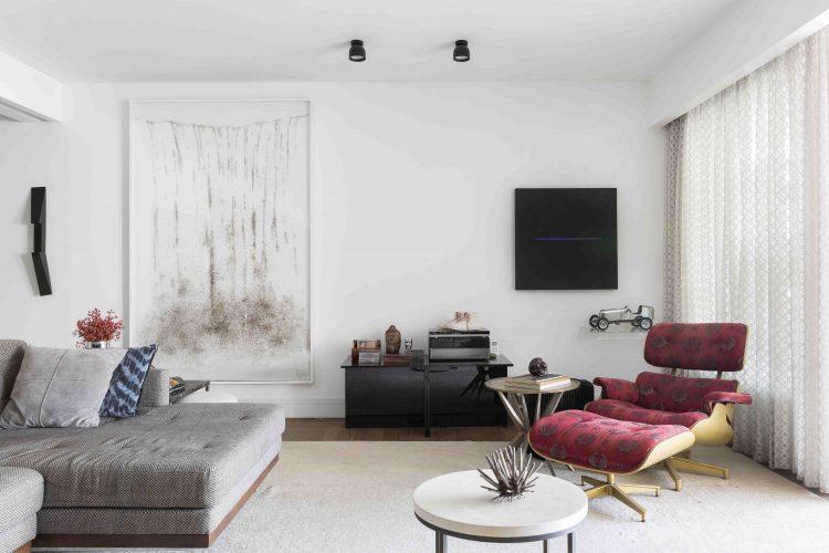 sala do apartamento assinado por Denise Barretto