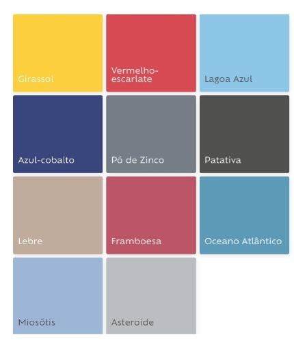 Cartel de cores que serão tendencia em 2019, segundo a Tintas Suvinil. Cartela com vários tons de azul.