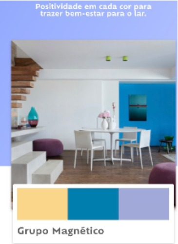 Grupo de cores que serão tendencia em 2019, segunda a Suvinil Tintas. Tons de azul.
