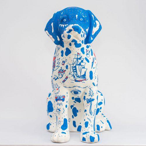Cachorro basset pintado por Benny Novak e Fabrizio Lenci para DogArt 2018