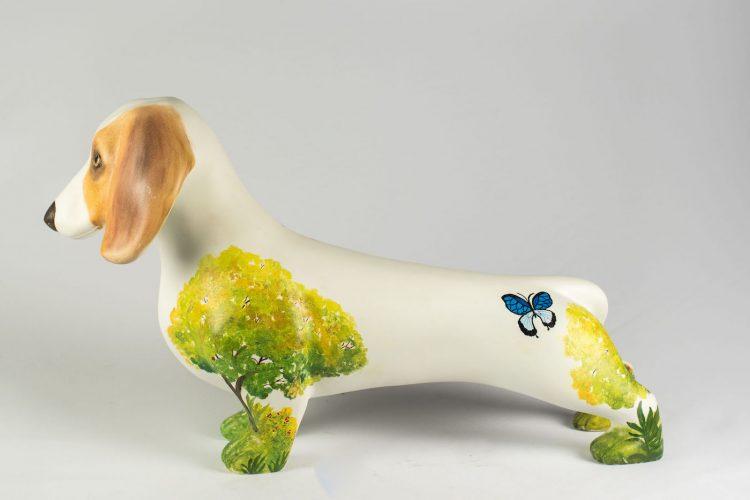 Cachorro basset pintado por Dircéa Mountfort para DogArt 2018