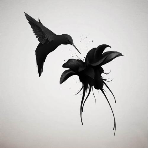 Trabalhos do ilustrador holandês Ruben Ireland,conhecido por retratar figuras sombrias e mulheres místicas de forma calma e forte. Beija-flor na flor.
