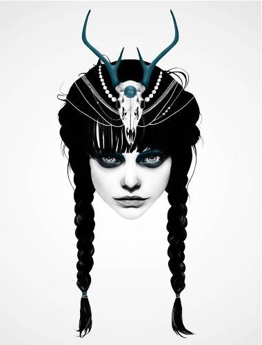 Trabalhos do ilustrador holandês Ruben Ireland,conhecido por retratar figuras sombrias e mulheres místicas de forma calma e forte.. Imagem de mulher com tranças.
