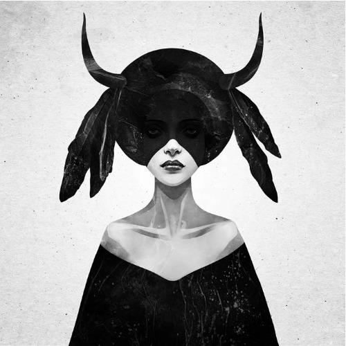 Trabalhos do ilustrador holandês Ruben Ireland,conhecido por retratar figuras sombrias e mulheres místicas de forma calma e forte. Imagem de mulher.
