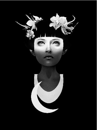Trabalhos do ilustrador holandês Ruben Ireland,conhecido por retratar figuras sombrias e mulheres místicas de forma calma e forte. Mulher com flores no cabelo.