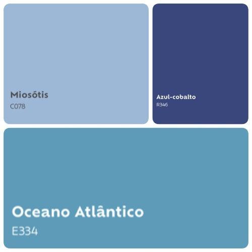 Combinação de 3 tons de azul.
