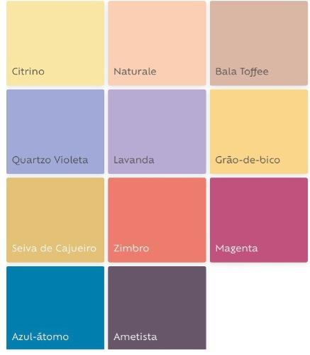 Cartela de tintas das cores que serão tendencia em 2019, segundo a Suvinil Tintas.