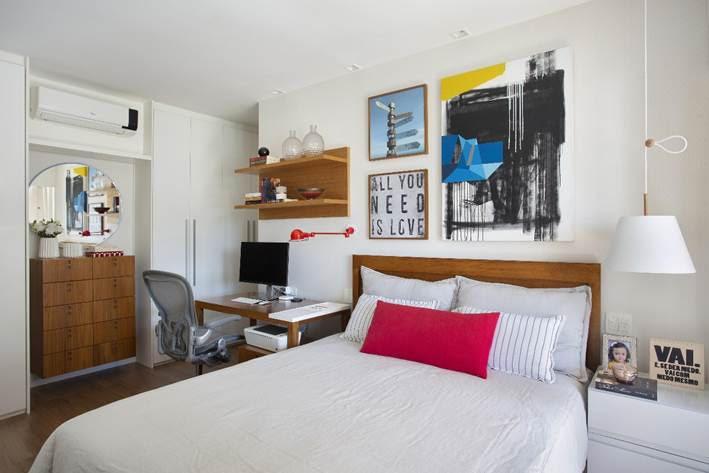 quarto do casal no apto assinado por Bezamat Arquitetura