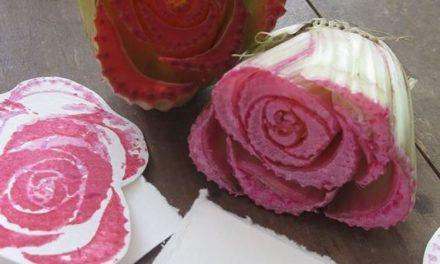 Idéias de carimbos DIY com legumes e frutas