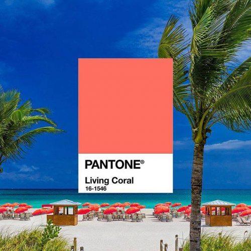 praia com living coral da pantone