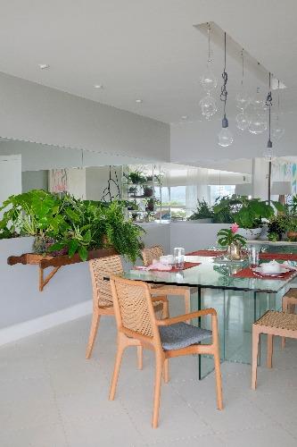 sala de jantar com plantas no apto de Anna Luiza Rothier