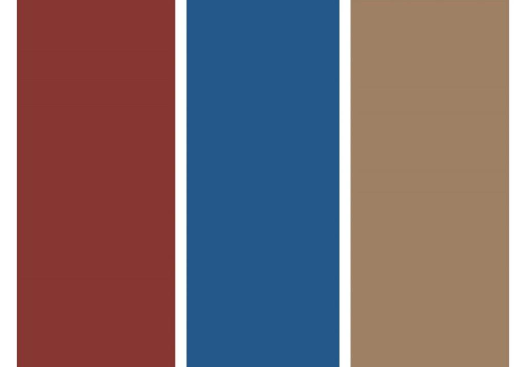 Cores: Pitanga Madura, Jazz e Creme Bruléé. Sugestão de combinação Conexão Décor. Colunas com as faixas de cores com vermelho, azul e bege.