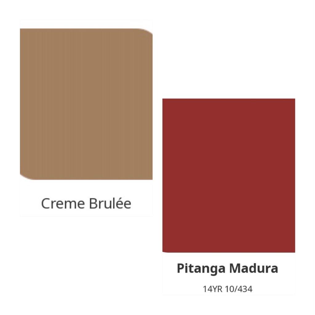 Combinação de cores, vermelho e bege.