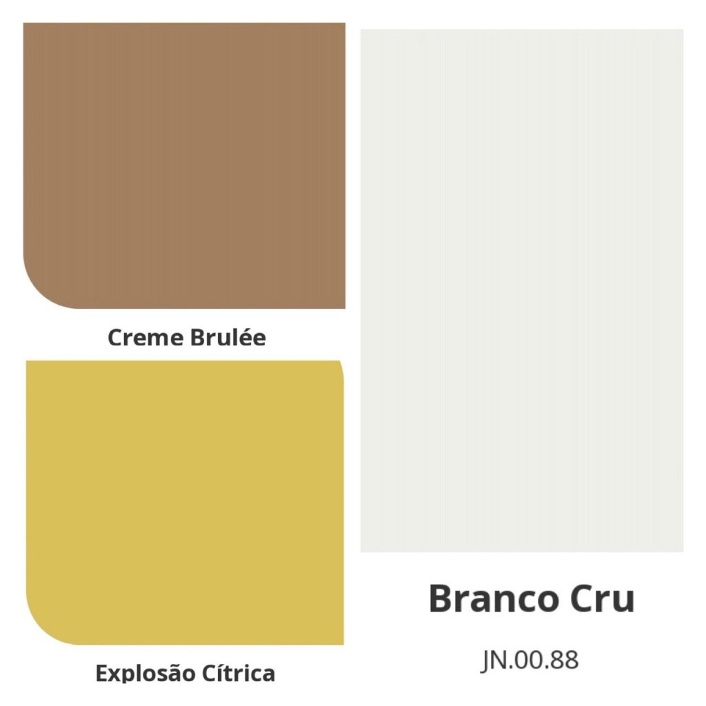 Combinação de cores com a cor do ano da Coral Tintas , Creme Brulée, Uma cor marrom clara combinada com branco e amarelo claro.