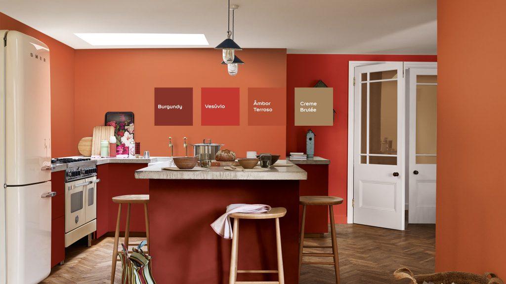 Cores: Burgundy, Vesúvio,  Âmbar Terroso e Cremée Brule.   Combinação de cores sugerida pela Coral Tintas .