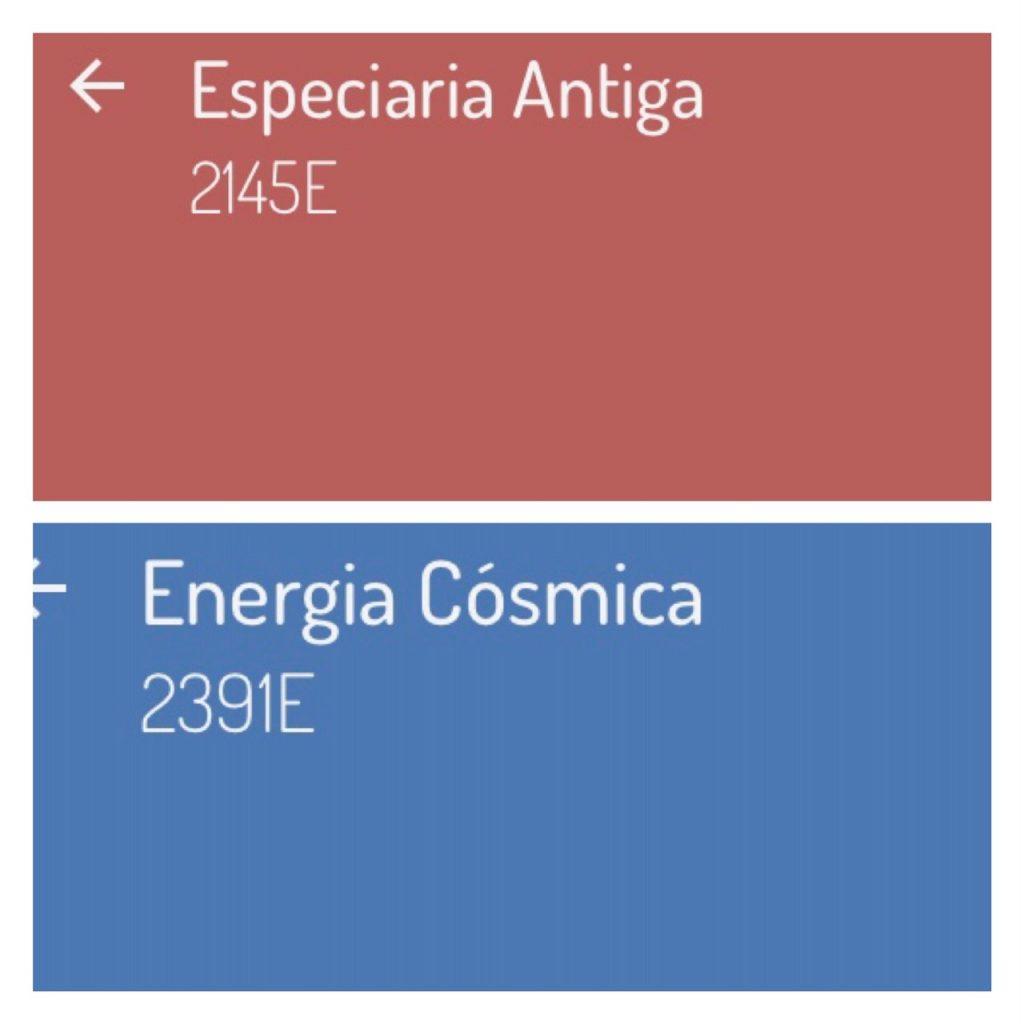 Combinação de cores com a cor da ano 2019 da Eucatex, Especiaria Antiga, uma rosácea que combina com a cor azul.