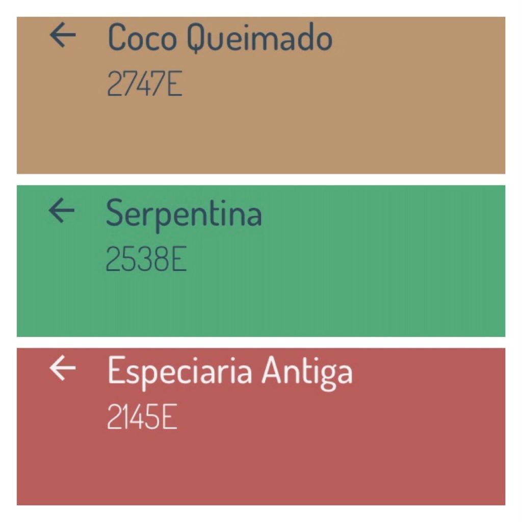 Combinação de cores com a cor da ano 2019 da Eucatex, Especiaria Antiga, uma rosácea que combina com verde e marrom.