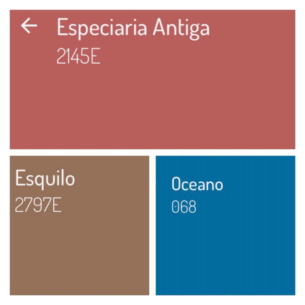 Combinação de cores com a cor da ano 2019 da Eucatex, Especiaria Antiga, uma rosácea que combina com a cor azul e marrom.