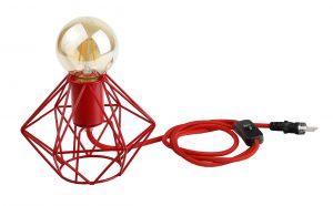 Creative Lamps: marca de luminárias customizáveis é inaugurada no Rio de Janeiro.Bocal, cupula, e fio vermelho.