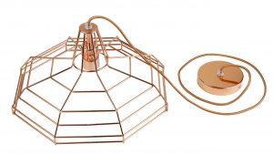 Creative Lamps: marca de luminárias customizáveis é inaugurada no Rio de Janeiro. fio. canopla e cúpula dourado rose.