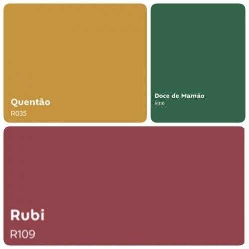 Combinação de cores com a cor do ano de 2019 da Suvinil Tintas, Quentão. Um amarelo mostarda combinando com um verde e cor rubi.