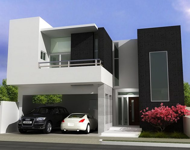 casa com fachada preto e branco