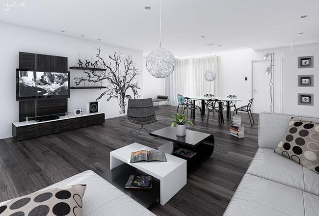 sala com decoração preto e branco