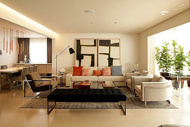 sala de estar com mobiliario da artefacto assinado por Denise Barretto