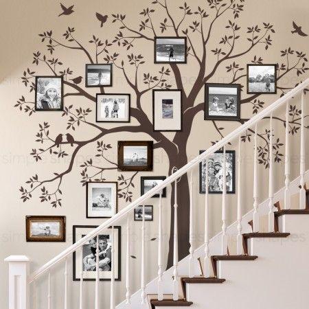 Decorando a parede da escada. Arvore genealógica com fotos