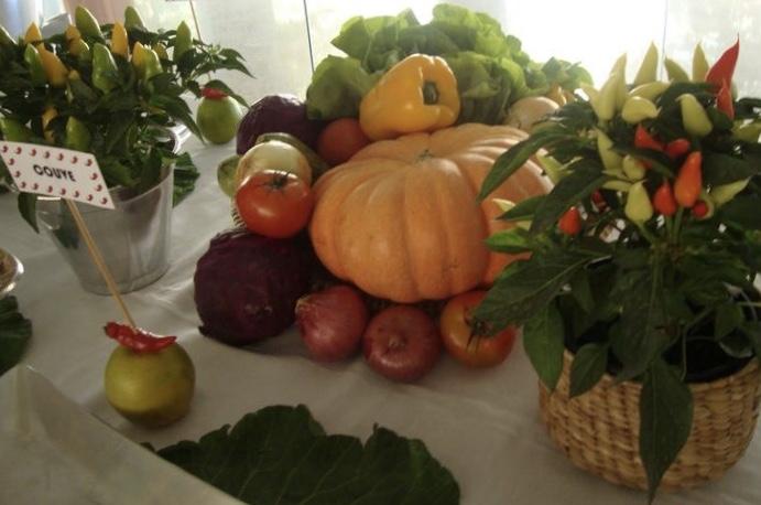 Décor para receber no Carnaval com Feijoada, o match que dá o maior samba. Mesa de feijoada enfeitada com legumes e pimentinhas.