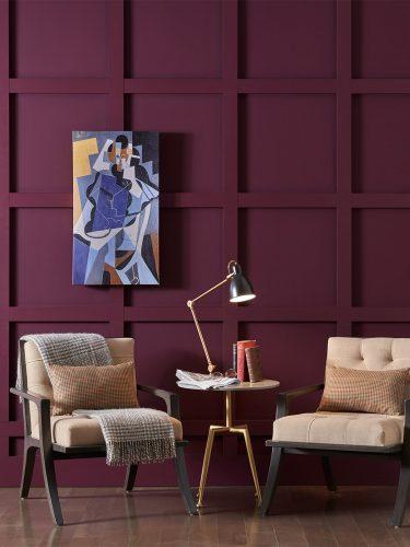 Parede pintada com a cor da paleta aficionado da Sherwin Williams