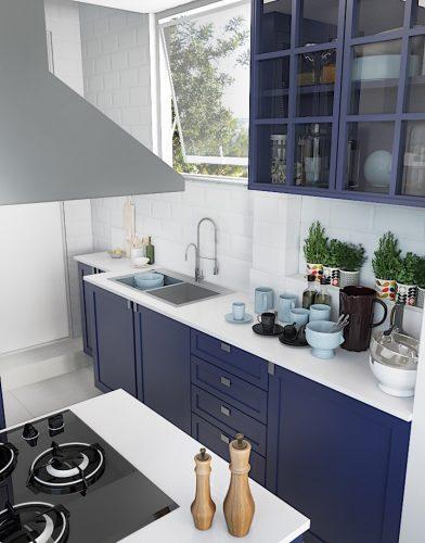 Cozinha Vintage, com antes e depois. Imagem da bancada branca, com armários na cor azul , cuba dupla e ilha com cocktpo