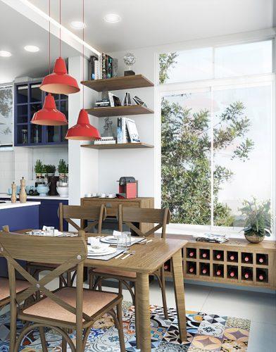 Cozinha Vintage, com antes e depois. Imagem da cozinha com ilha, janela nova para o verde e mesa acoplada a ilha central.
