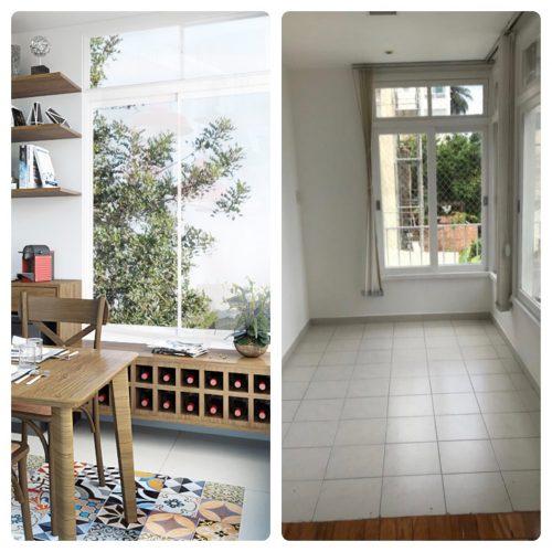 projeto com antes e depois. Fotos da sala antes e depois com a integração da cozinha.