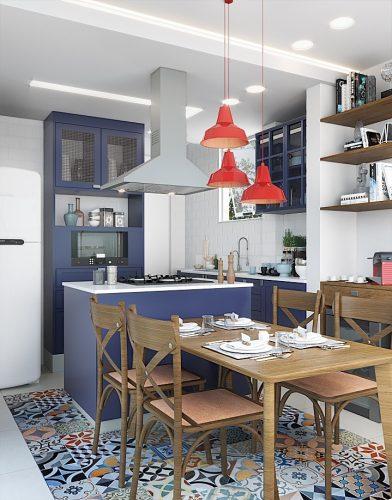 """Cozinha Vintage, com antes e depois. Piso com """"tapete"""" em ladrilho hidráulico."""