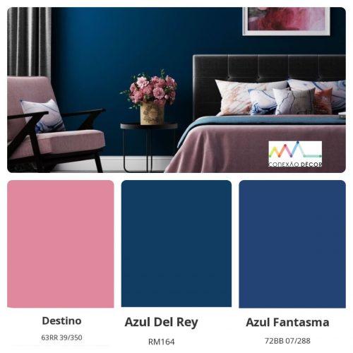 Combinação de cores by Conexão Décor. Quarto com as cores azul e rosa.