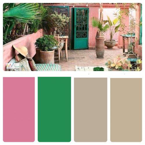 Combinação de cores by Conexão Décor. Terraço com as cores rosa e verde musgo.