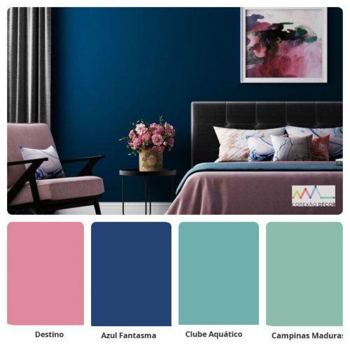 Combinação de cores by Conexão Décor. Quarto com tons de azul e rosa.
