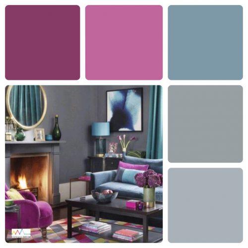 Combinação de cores by Conexão Décor. Tons de Roxo e lilás combinado com cinza.