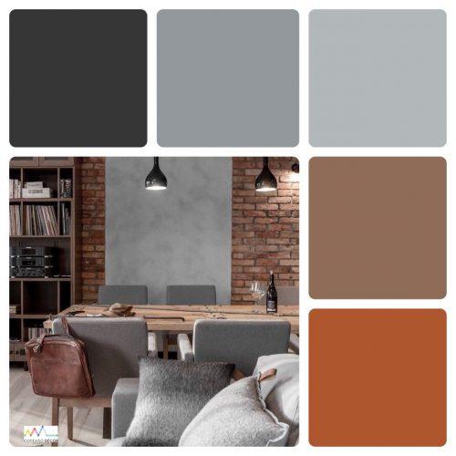 Combinação de cores by Conexão Décor. Combinação de preto, cinza e ferrugem.