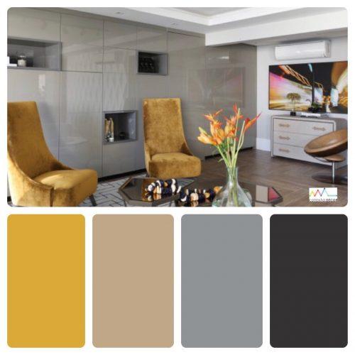 Combinação de cores by Conexão Décor. Casa da influenciadora Mari Saad decorada com as cores mostarda, cinza e preto.