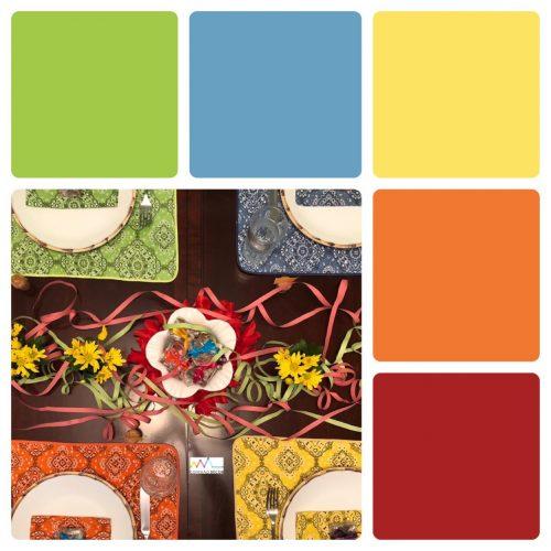 Combinação de cores by Conexão Décor. Verde, azul, amarelo e laranja .