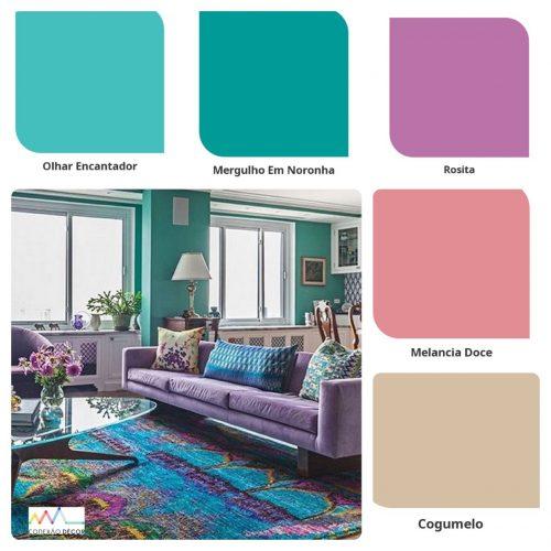 Combinação de cores by Conexão Décor. Paleta de cores com turquesa, azul e rosa.