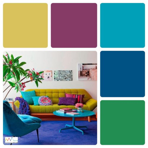 Combinação de cores by Conexão Décor. Paleta de cores com mostarda, roxo e turquesa.