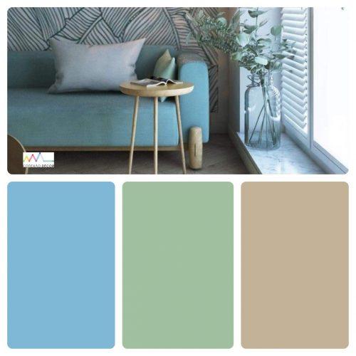 Combinação de cores by Conexão Décor. Cores azul, verde e bege, todos bem clarinhos.