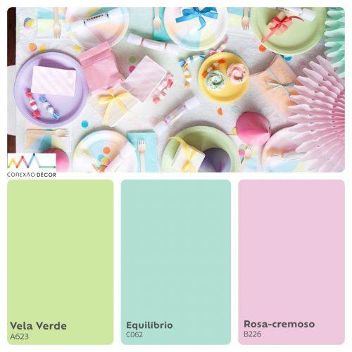Combinação de cores by Conexão Décor. Tons clarinhos de verde, azul bebe e rosa.