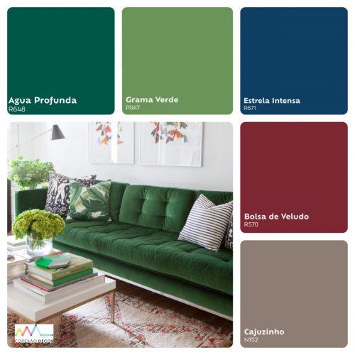 Combinação de cores by Conexão Décor. tons fortes de verde e bordo.